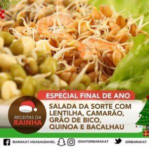 Salada da Sorte com Lentilha, Camarão, Grão de Bico, Quinoa e Bacalhau